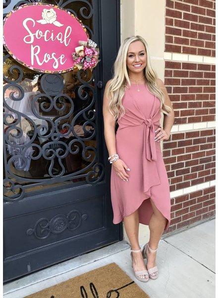 Gilli Tie Dress Mauve Pink