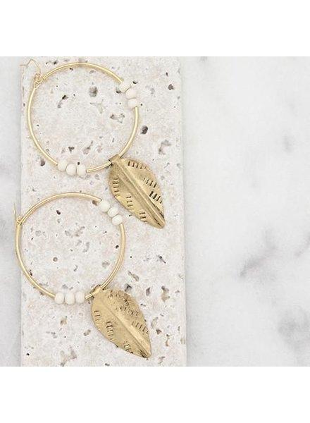 Stone Large Hoop Earrings