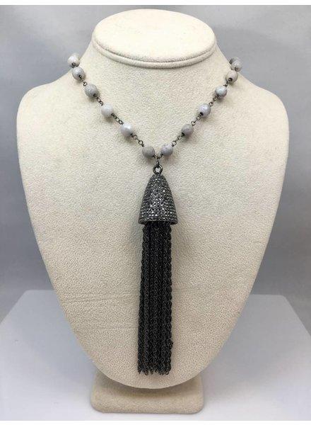 Nikko Blu Tassel White Beads