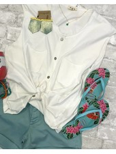 POL Sleeveless Knit Button Down White