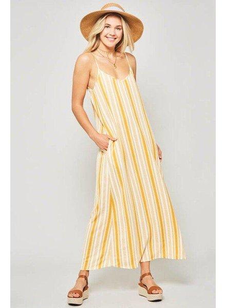 Promesa Promesa Long Dress Mustard/White