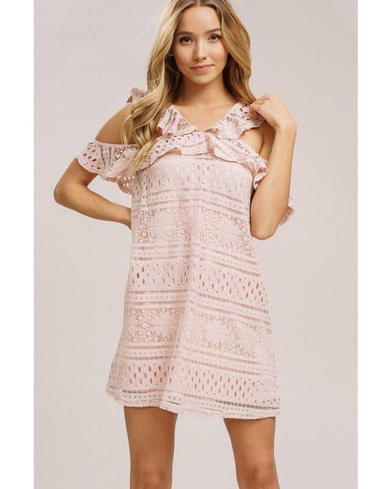 Listicle Listicle Lace Ruffle Dress Blush