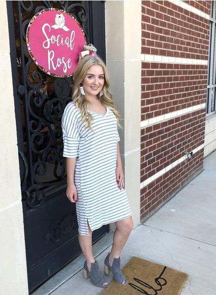 Promesa Promesa Striped Dress Pockets Grey/White