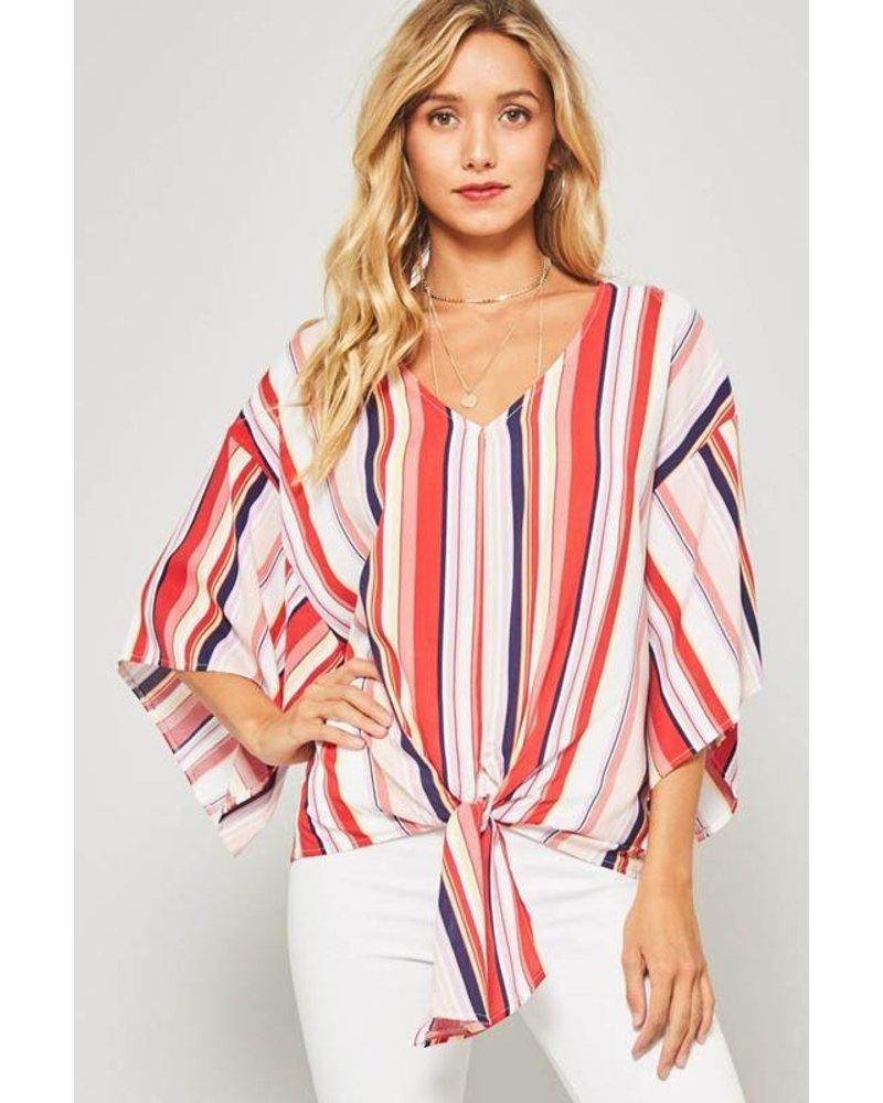 Promesa Promesa Tie Top Striped Red Multi