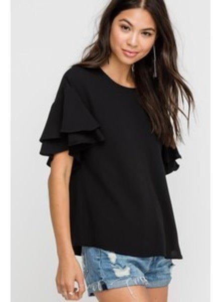 Lush Lush Ruffle Sleeve Top Black