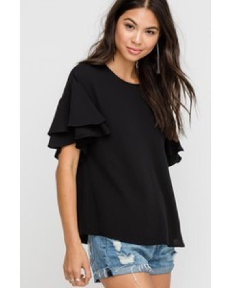 Lush Lush Ruffle Sleeve Top Black