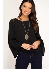 She & Sky She & Sky Bell Sleeve Top Black