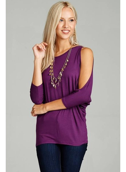 Emerald Emerald Open Sleeve Top Purple