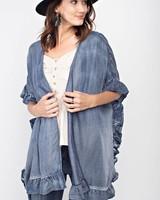 Easel Easel Ruffle Kimono Denim