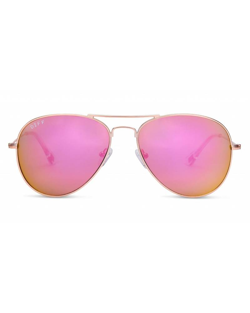 DIFF DIFF Crux Rose Gold Pink Mirror POLARIZED