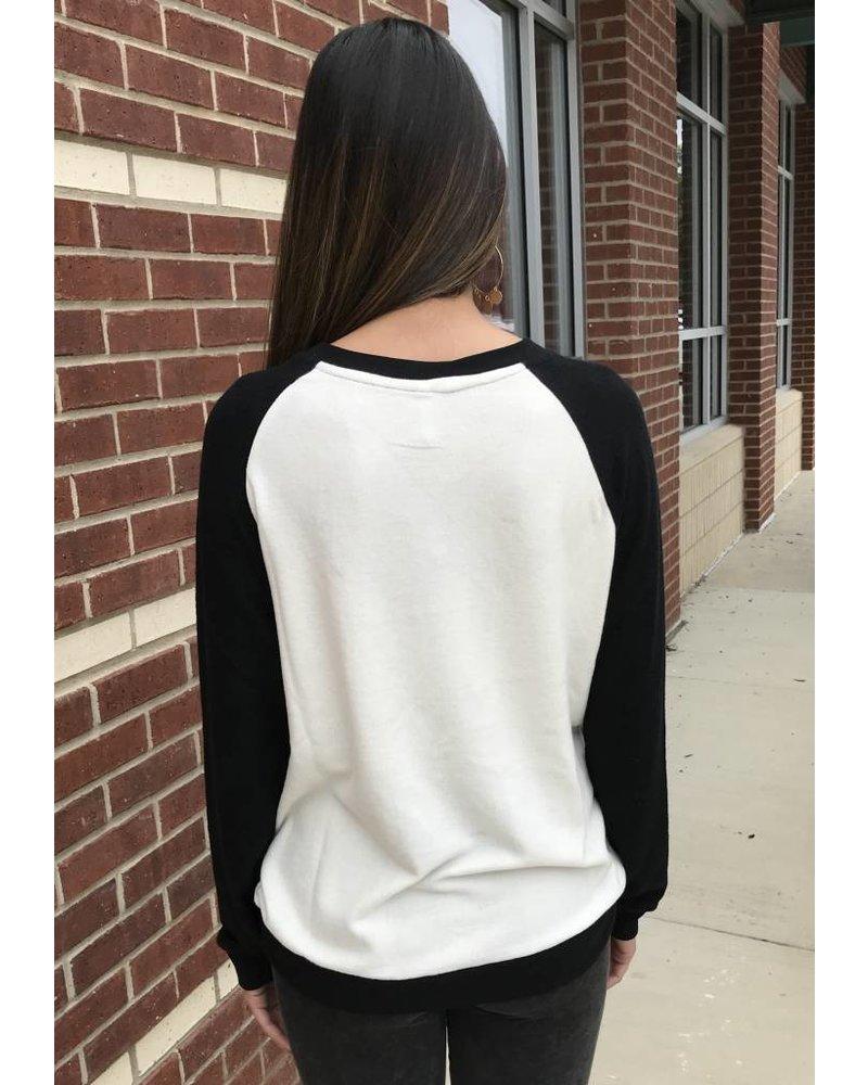 Z Supply Z Supply Raglan Marled Shirt Pearl/Black