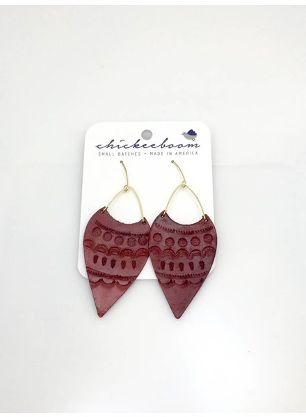 Chickeeboom Chickeeboom Leather Spear Earring Red