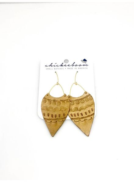Chickeeboom Chickeeboom Leather Spear Earring Mustard