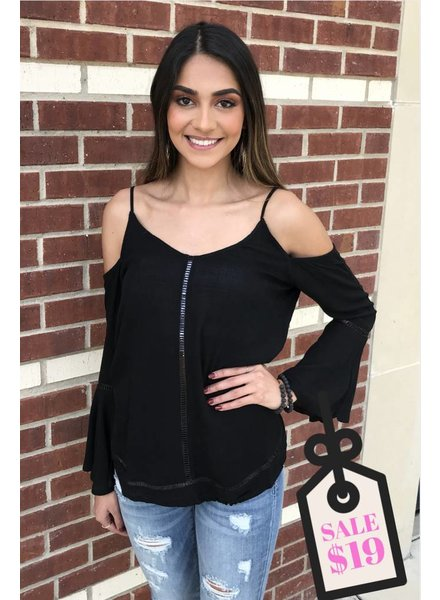 BD Collection BD Collection Black Cold Shoulder Top