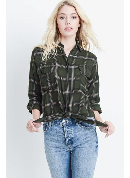 Le Lis Le Lis Plaid Shirt Olive