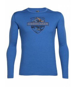 Icebreaker Men's Oasis Long Sleeve Crewe Alpine Crest-Blue- XL