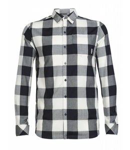 Icebreaker Men's Departure II Long Sleeve Shirt Plaid-STEALTH/SNOW-L