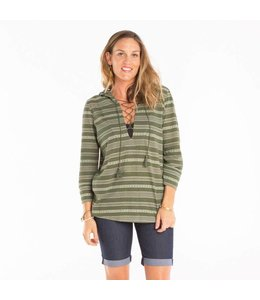 Carve Designs Women's Cantina Hoodie- Reed Stripe- XL