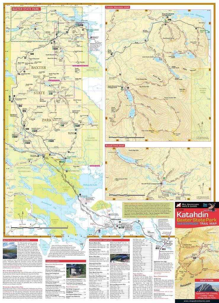 Katahdin Baxter State Park Waterproof Trail Map Alpenglow - Mt katahdin trail map