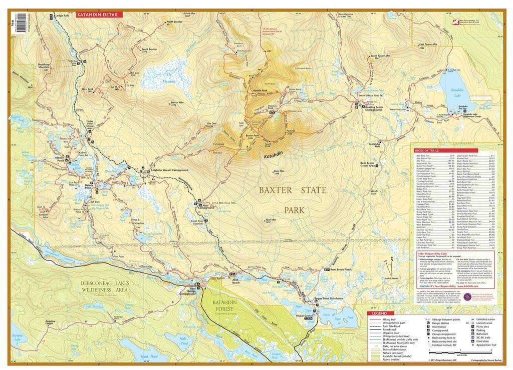 Katahdin Baxter State Park Waterproof Trail Map - Alpenglow ...