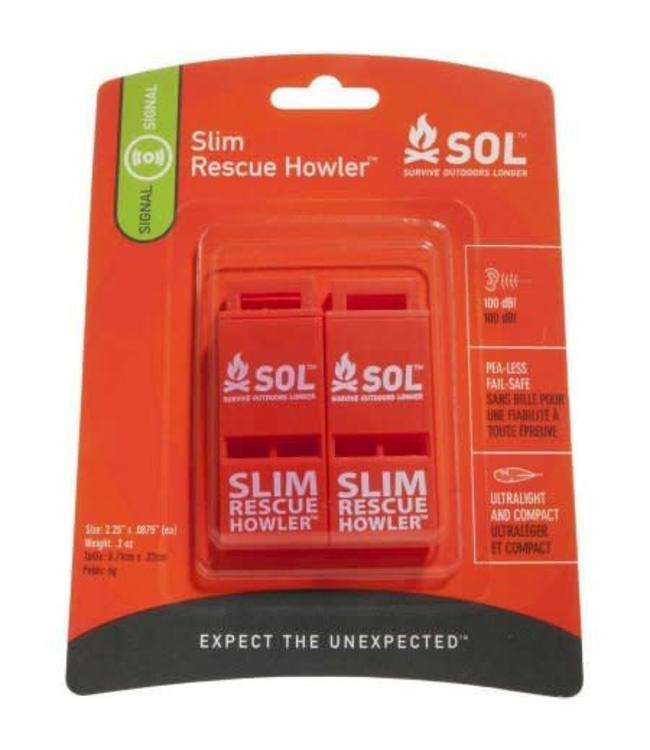 Survive Outdoors Longer SLIM Rescue Howler Whistle, Pkg/2