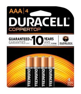 Duracell Coppertop Batteries AAA 4 Pack