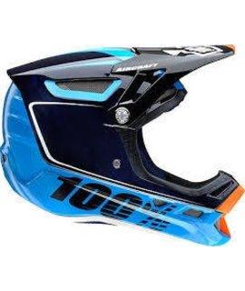100% 100% Aircraft Carbon Full-Face Helmet, Bi-Turbo Blue, MD (57-58cm)