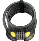 OnGuard Doberman Lighted Combo Cable Lock: 6' x 12 mm, Gray/Black/Yellow