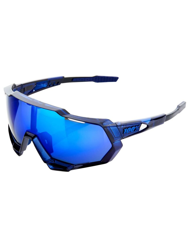 100% Speedtrap sunglasses, translucent blue - blue mirror