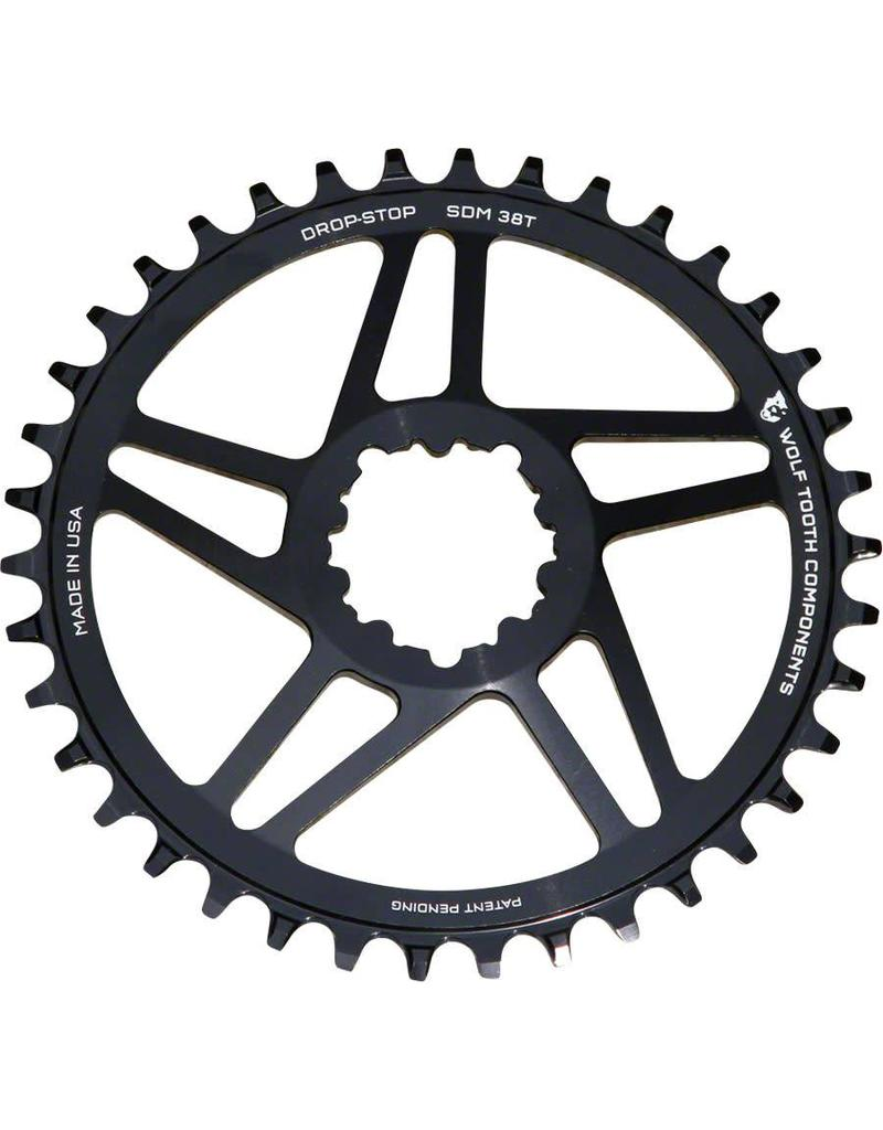 Wolf Tooth Components Wolf Tooth Components Direct Mount Drop-Stop 38T Chainring: For SRAM Cranks with Removable Spiders, Black, 6mm Offset