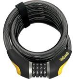 OnGuard Doberman Combo Cable Lock: 6' x 15mm, Gray/Black/Yellow