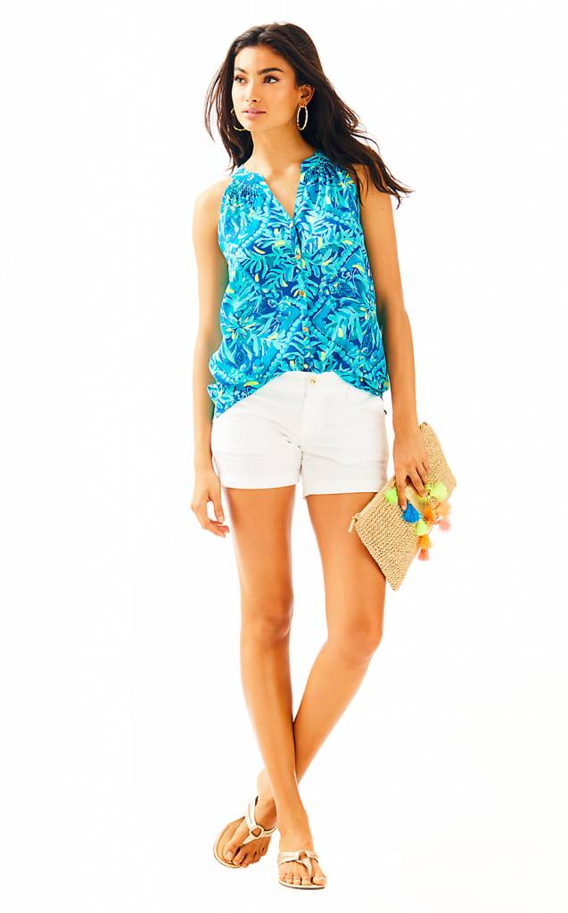 LILLY PULITZER LILLY PULITZER BUTTON FRONT SILK BAILEY TOP