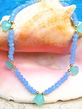 SASHA LICKLE BLUE AQUA CHALCEDONY STONE NECKLACE