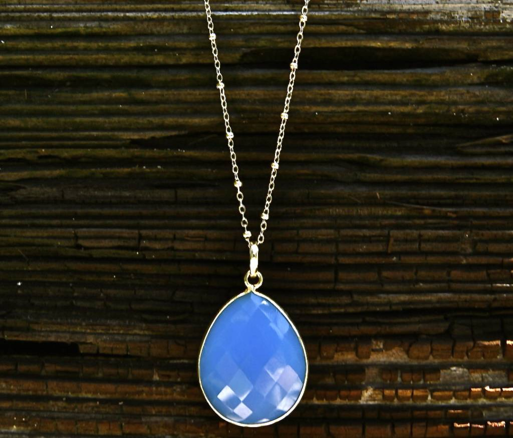 SASHA LICKLE  BLUE ONYX STONE PENDANT NECKLACE