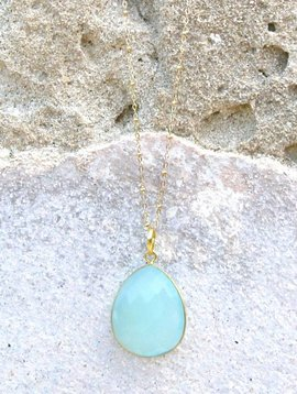 SASHA LICKLE AQUA CHALCEDONY DROP PENDANT NECKLACE