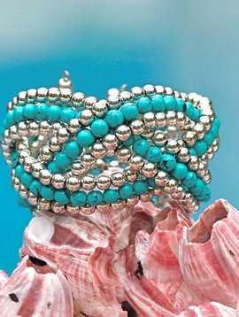 SASHA LICKLE TURQUOISE BEADED CUFF BRACELET