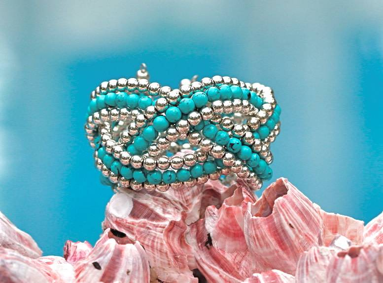 SASHA LICKLE SASHA LICKLE TURQUOISE BEADED CUFF BRACELET SLB11