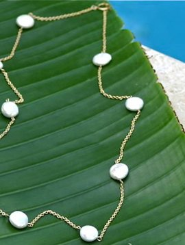 SASHA LICKLE FRESHWATER COIN PEARL NECKLACE