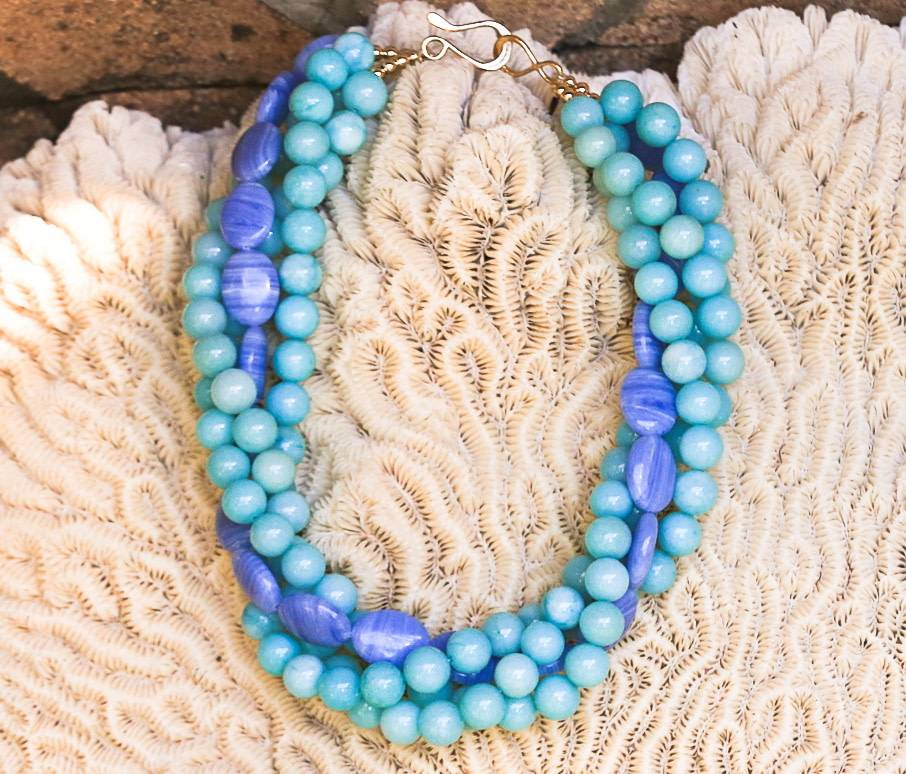 SASHA LICKLE SASHA LICKLE BLUE AGATE & AMAZONITE STONE NECKLACE