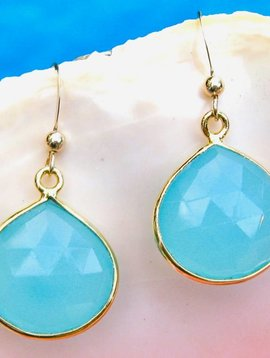 SASHA LICKLE AQUA CHALCEDONY DROP EARRINGS
