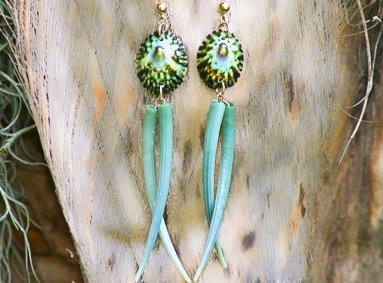 SASHA LICKLE GREEN LIMPET AND GREEN TUSK SHELL EARRINGS