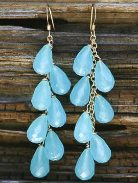 SASHA LICKLE AQUA QUARTZ CLUSTER EARRINGS