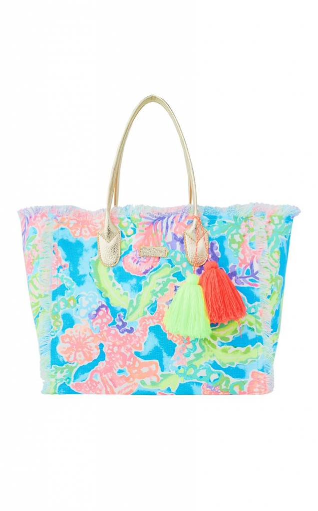 LILLY PULITZER LILLY PULITZER GYPSET FRAYED BEACH TOTE BAG