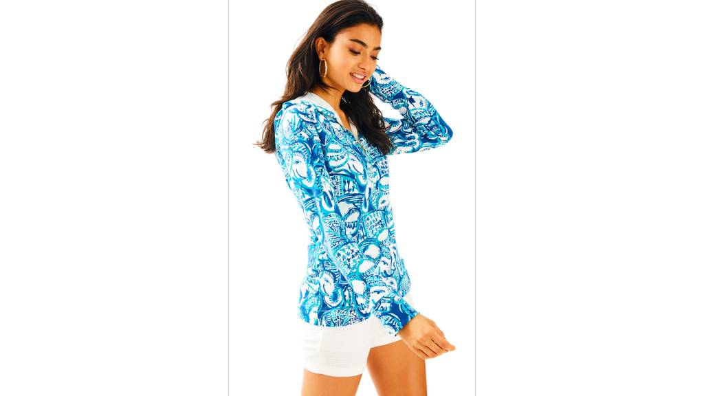 LILLY PULITZER LILLY PULITZER UPF 50+ LUXLETIC HOODED SKIPPER POPOVER