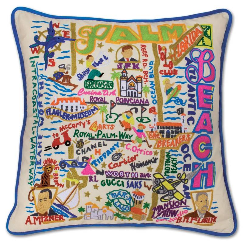 CAT STUDIOS CAT STUDIOS PALM BEACH HAND-EMBROIDERED PILLOW