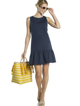 SAIL TO SABLE PONTE SLEEVELESS RUFFLE HEM DRESS