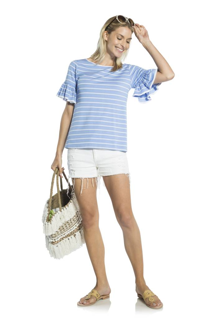 SAIL TO SABLE PONTE FLOUNCE SLEEVE TOP