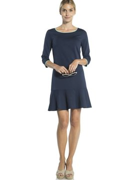 SAIL TO SABLE PONTE LONG 3/4 SLEEVE FLOUNCE DRESS