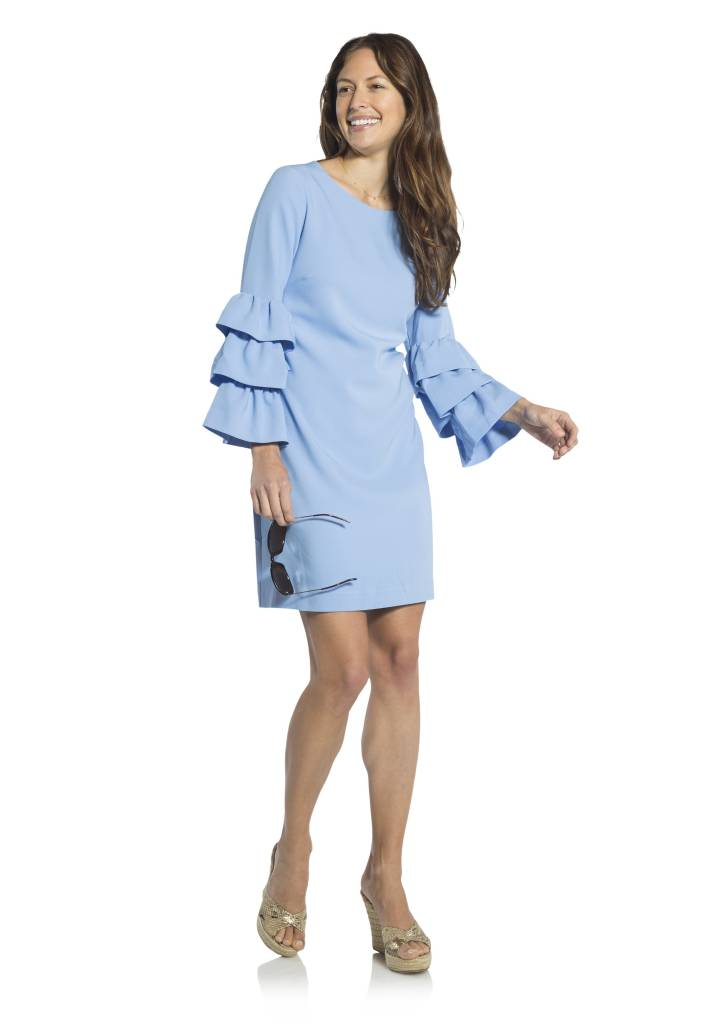 SAIL TO SABLE SAIL TO SABLE TIERED SLEEVE SHIFT DRESS