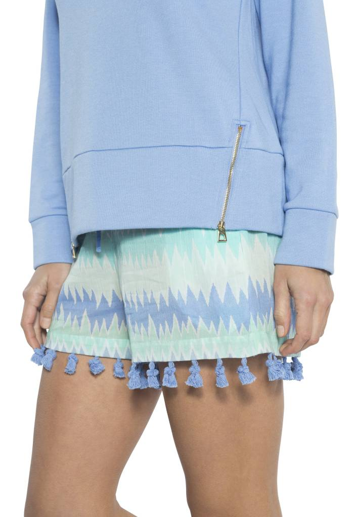 SAIL TO SABLE FLAME PRINT SHORTS WITH FRINGE